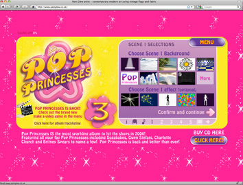 Pop Princesses compilation album microsite + Make video game